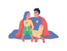 coppia che abbraccia sotto i caratteri dettagliati di vettore di colore piatto della coperta