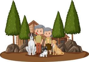 vecchia coppia seduta nel parco con il loro animale domestico isolato vettore