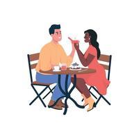 uomo che propone il fidanzamento ai caratteri dettagliati di vettore di colore piatto della donna