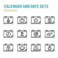 calendario e data nell'icona di contorno e set di simboli vettore