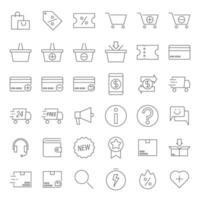 delineare le icone di e-commerce vettore