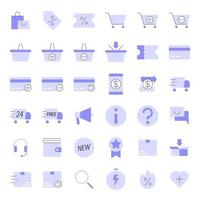 icone piatte di e-commerce vettore