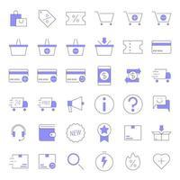 icone di e-commerce di linea colorata vettore