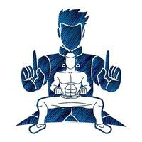 pose di azione di arte marziale combattente di kung fu vettore