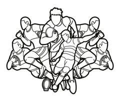 contorno di azione di giocatori di rugby vettore