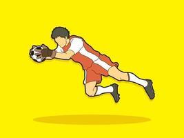 azione del portiere giocatore di calcio uomo vettore