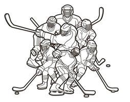 gruppo di giocatori di hockey su ghiaccio azione contorno vettore