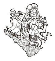 gruppo di escursionisti di persone che scalano stile contorno di montagna vettore