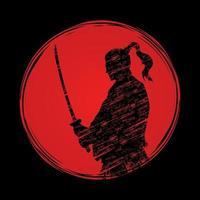 silhouette di guerrieri samurai su sfondo tramonto vettore
