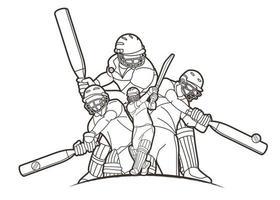 contorno di azione di giocatori di cricket vettore