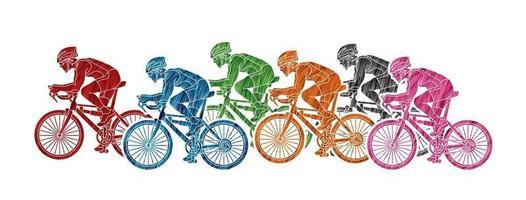 gruppo di ciclisti vettore