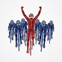 gruppo di ciclisti e il vincitore vettore