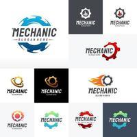 set di vettore di disegni logo meccanico moderno, modello di logo tecnologia ingranaggi