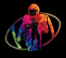 disegno di azione di giocatori di football americano vettore