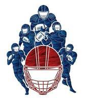 gruppo di giocatori di football americano in azione pone vettore