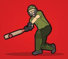 Posa di azione del giocatore di cricket maschile vettore