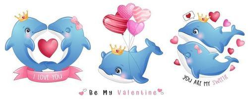 simpatico delfino doodle per la raccolta di San Valentino vettore