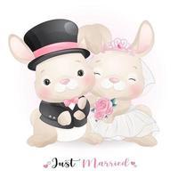simpatico coniglietto doodle con abiti da sposa per San Valentino vettore