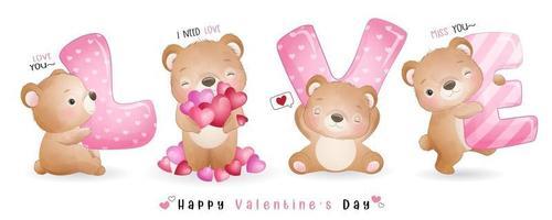 simpatico orso doodle per la raccolta di San Valentino vettore