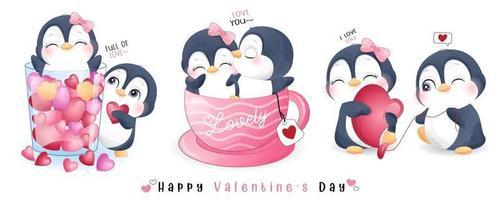 simpatico pinguino doodle per la raccolta di San Valentino vettore