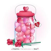 simpatiche caramelle a forma di cuore all'interno della bottiglia per San Valentino vettore