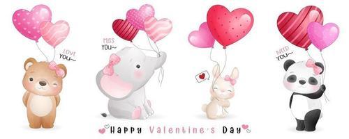 simpatici animali doodle per la raccolta di San Valentino vettore