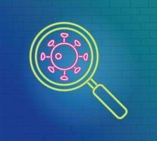 luce al neon con icona di prevenzione del coronavirus vettore