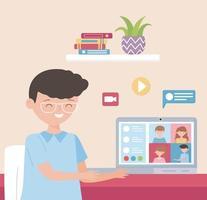 concetto di riunione in linea con il giovane sul computer portatile vettore