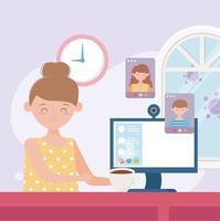concetto di riunione in linea con la giovane donna sul computer vettore