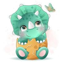carino piccolo dinosauro con illustrazione ad acquerello vettore