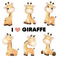 carino piccola giraffa pone con illustrazione ad acquerello vettore