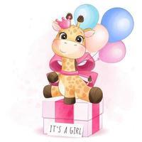 carino giraffa seduto nella confezione regalo illustrazione vettore