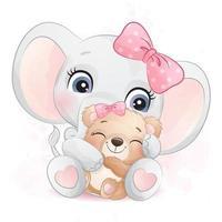 elefante carino che abbraccia una piccola illustrazione di orso vettore