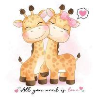 coppia carina giraffa con illustrazione ad acquerello vettore