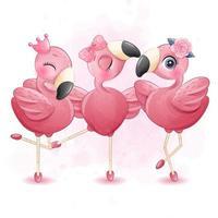 tre simpatici fenicotteri con illustrazione della ballerina vettore