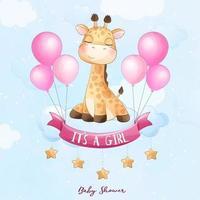 carino giraffa bambino seduto nel cloud con illustrazione ad acquerello vettore