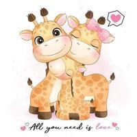 carino piccola famiglia giraffa con illustrazione ad acquerello vettore