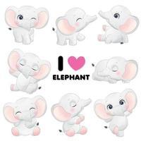 carino piccolo elefante pone con illustrazione ad acquerello vettore