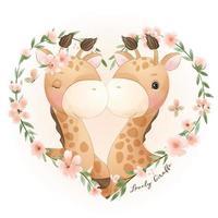 carino doodle giraffa con illustrazione floreale vettore