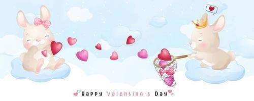simpatico coniglietto doodle per la raccolta di San Valentino vettore