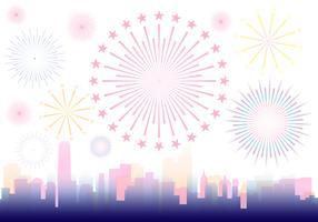 Fuochi d'artificio sopra un'illustrazione della città