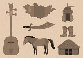 Illustrazione di vettore di raccolta mongolo elemento