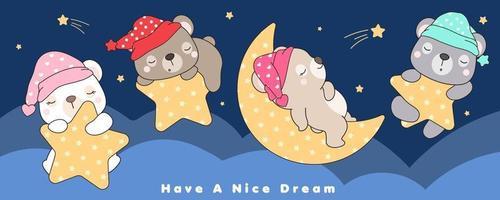 simpatici orsi doodle che dormono nella stella e nell'illustrazione della luna vettore