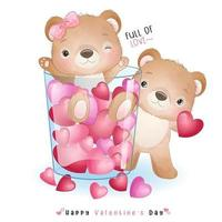 simpatico orso doodle per San Valentino vettore