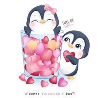 simpatico pinguino doodle per San Valentino vettore
