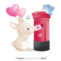 simpatico coniglietto doodle per san valentino vettore