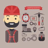 Material design e Icon Equipment per Rappel, escursionismo e sport all'aria aperta vettore