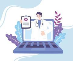 banner di diagnosi online con medico e laptop vettore