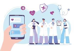 concetto di telemedicina con medici e mano che tiene un telefono vettore