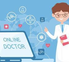 assistenza online con medico e laptop vettore